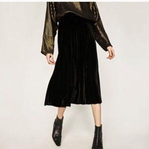 Zara velvet midi skirt
